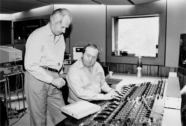 George Martin and Geoff Emerick in the Penthouse Studio